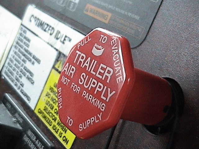 The trailer supply valve turns air off and on to the semi-trailer and subsequently controls its parking brakes.