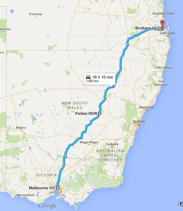 This is the milk run for Greyhound Australia from Melbourne, Victoria to Brisbane, Queensland.<p>Rick August drove this run for 1 year.