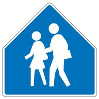 Most school signs are pentagon in shape. This blue school sign has been replaced by the neon green sign. These signs warn of a school in the area.