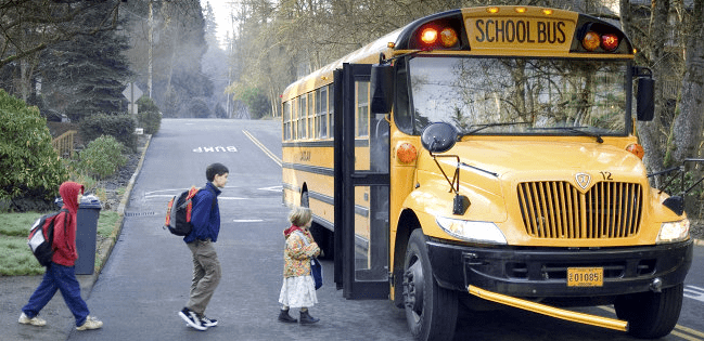 All traffic must stop for a school bus when it is alighting or taking on passengers and its red lights are flashing.