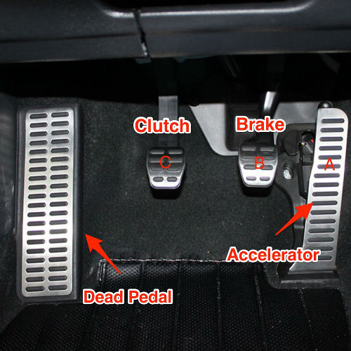 The pedals for a manual car are the same whether you drive on the left or right: clutch, brake, & accelerator from left to right.