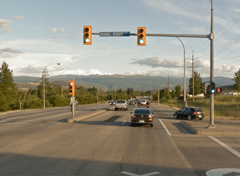 intersection with a 'Left Turn Signal' and that traffic light is substanially smaller than the through traffic light.
