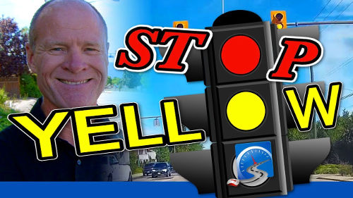 Dealing with yellow traffic lights for the purposes of a driver's test can be challenging. And if the light turns yellow, most of the time, you have to stop!